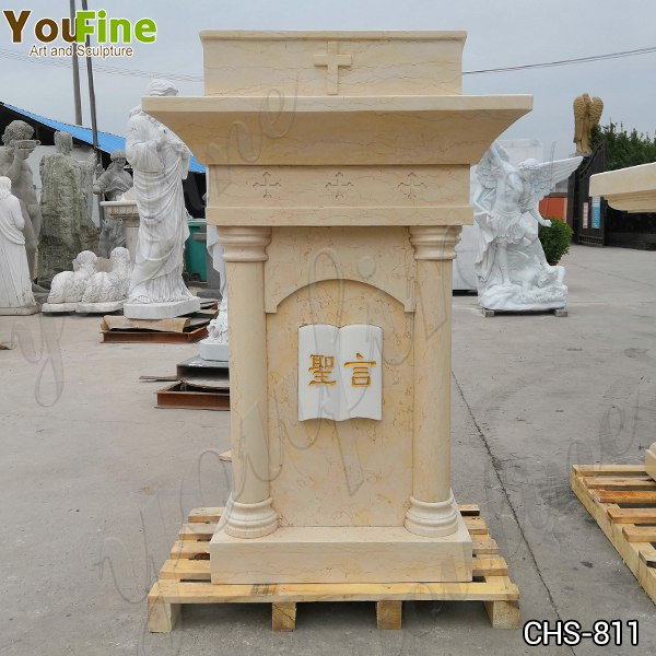 Religious Life Size Natural Beige Marble Church Pulpit