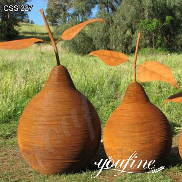Rusty Corten Steel Pear Sculptures from Factory Supply