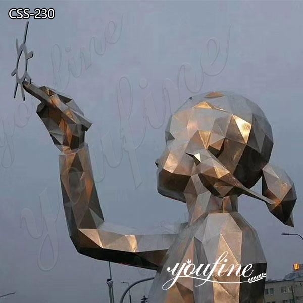 Urban Large Modern Stainless Steel Girl Sculpture
