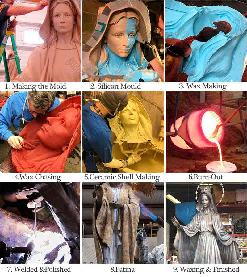process of bronze Blessed Teresa statue