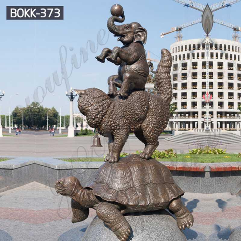 Bronze Animal Sculptures Tortoise Cat Elephant
