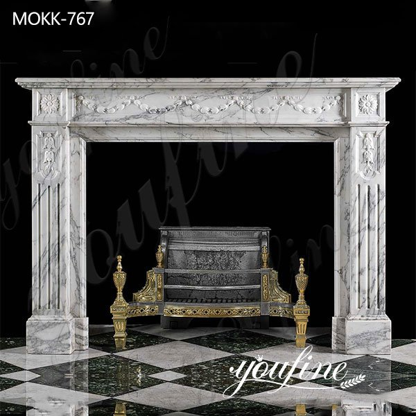 French Natural White Marble Fireplace Surround for Sale