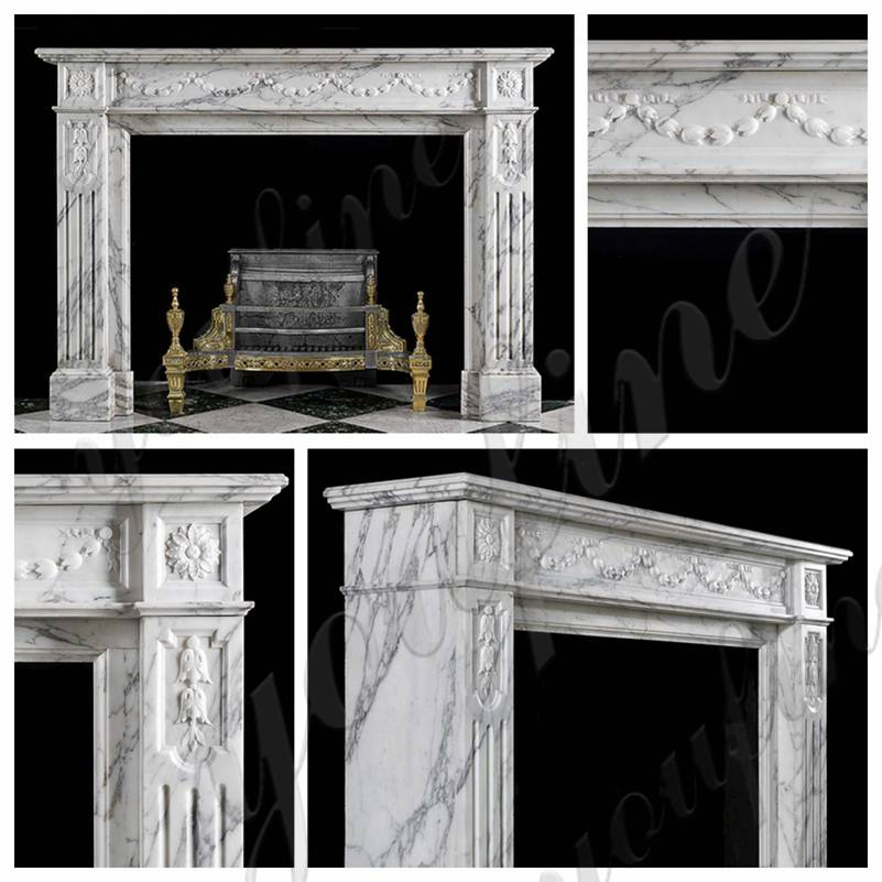 French White Marble Fireplace Surround for Sale