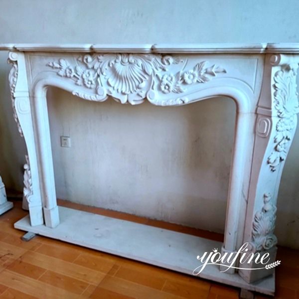 French White Marble Fireplace for Sale China Factory MOKK-773