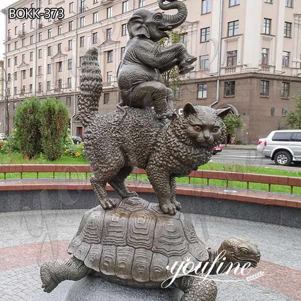 Garden Bronze Animal Sculptures Tortoise Cat Elephant for Sale