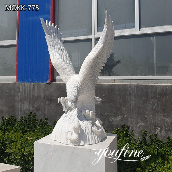 Hand Carved Life Size Marble Eagle Sculpture for Sale