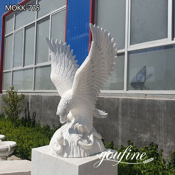 Hand Carved Life Size Marble Eagle Sculpture