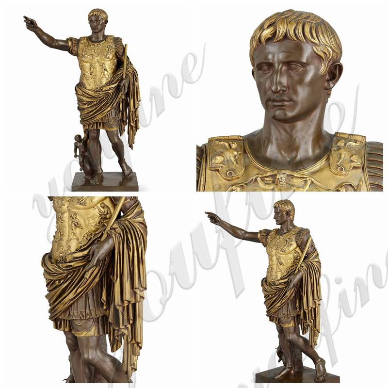 Large Augustus Caesar Bronze Sculpture by Barbedienne