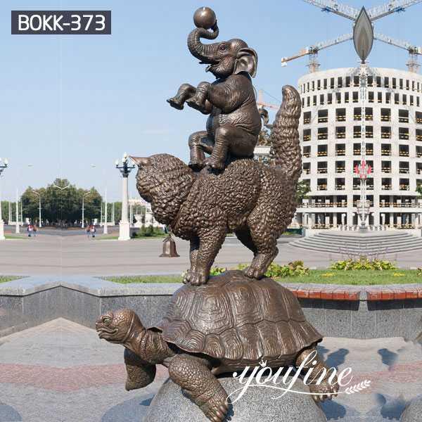 Large Garden Bronze Animal Sculptures Tortoise Cat Elephant for Sale
