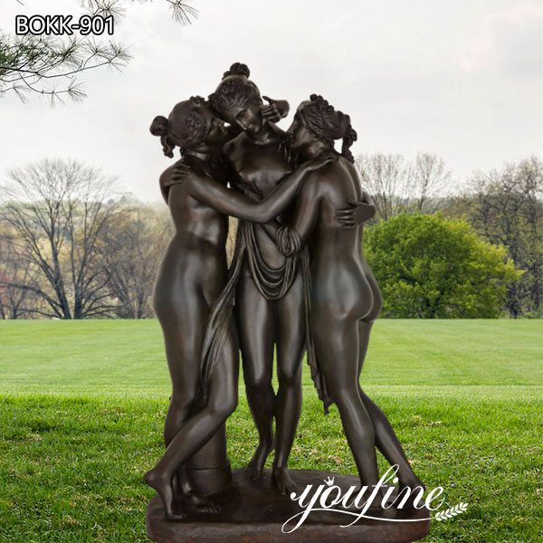 Large Neoclassical the Three Graces Bronze Sculpture on Sale BOKK-901