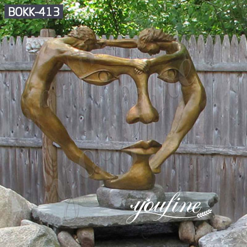 Life Size Abstract Bronze Two Figure Together Statue Factory Supply BOKK-413
