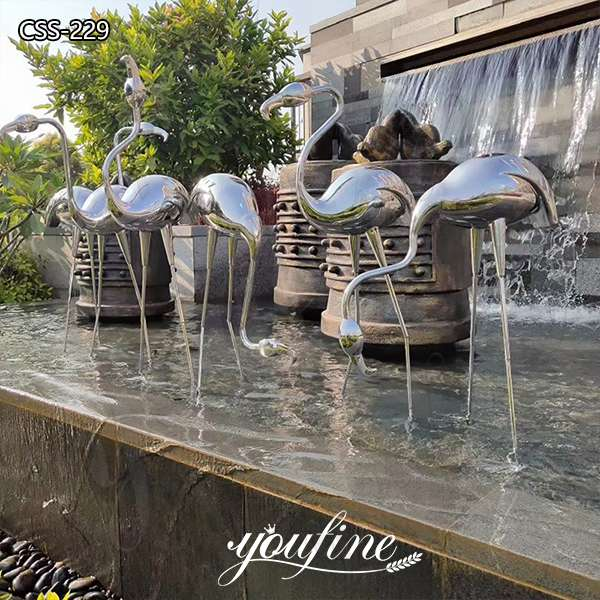 Life Size Stainless Steel Crane Landscape Sculptures for Sale
