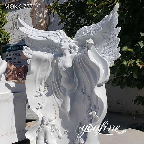 Life Size White Marble Angel Statues for Garden Decor