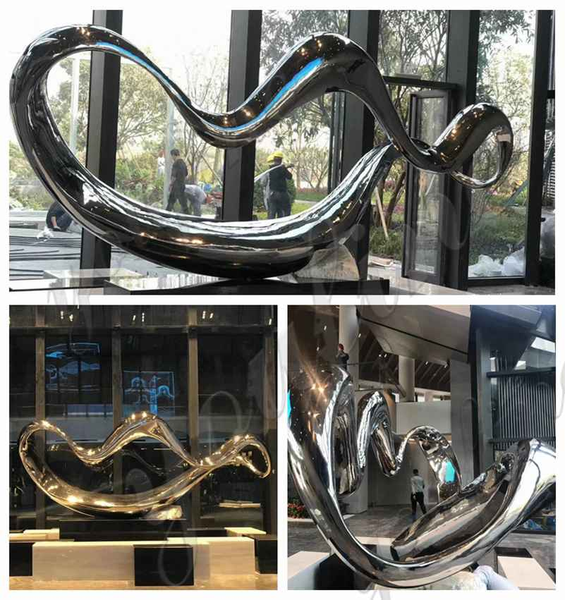 Modern Abstract Mirror Stainless Steel Sculpture for Sale