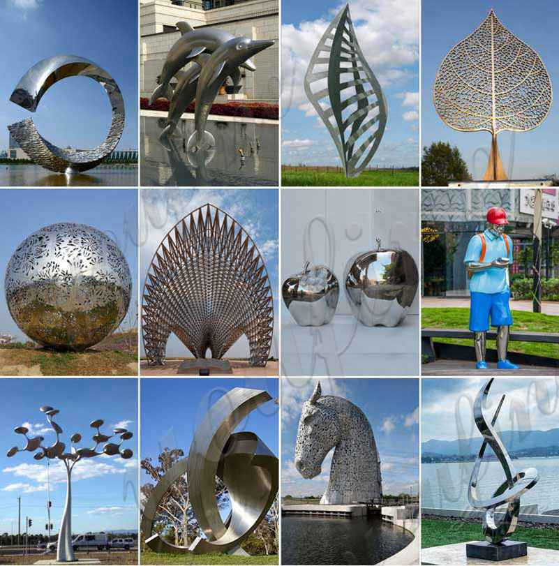 Modern Abstract Mirror Stainless Steel Sculpture
