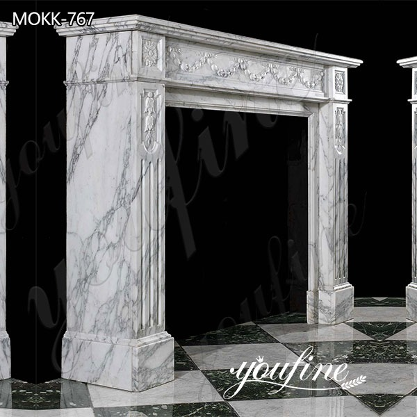 Natural White Marble Fireplace Surround for Sale
