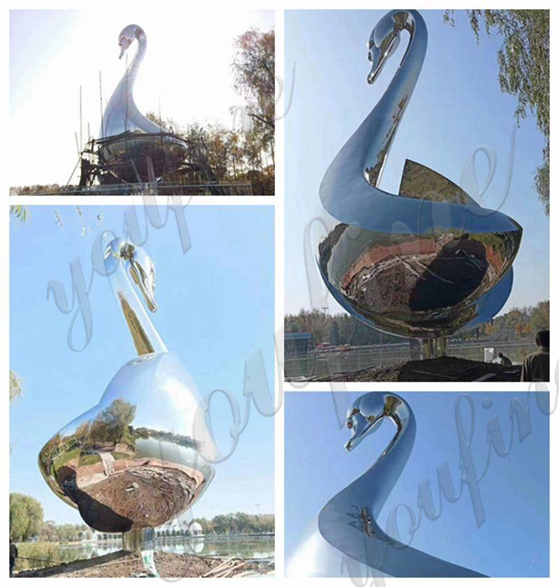 Outdoor Metal Goose Sculpture Stainless Steel Sculpture Factory