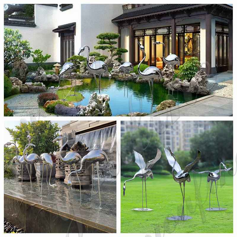 Stainless Steel Crane Landscape Sculptures for Sale