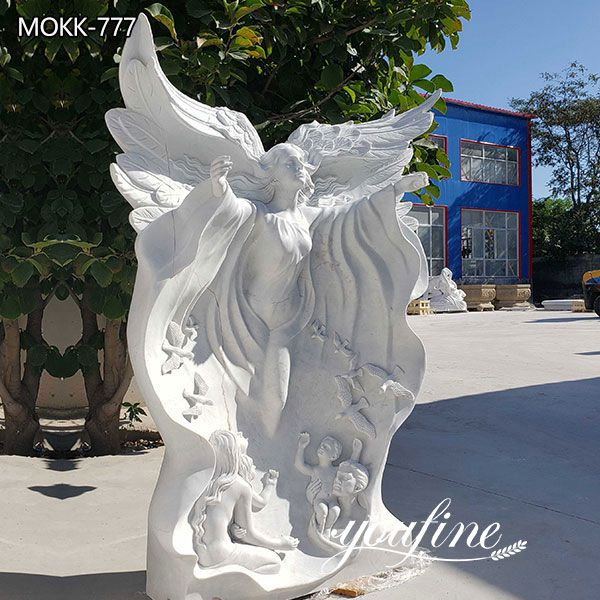Life Size White Marble Angel Statues for Garden Decor Suppliers MOKK-777