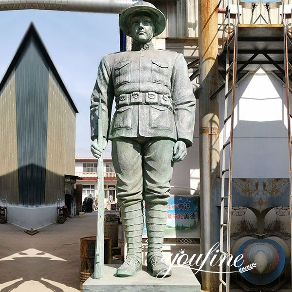 Custom 16ft Outdoor Large Bronze Soldier Statue for American Client