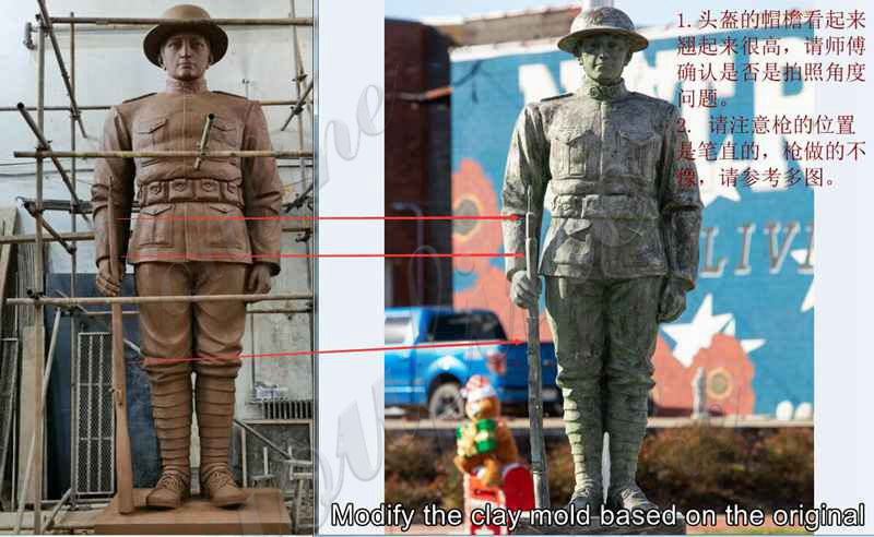 Custom Large Bronze Soldier Statue for American Client