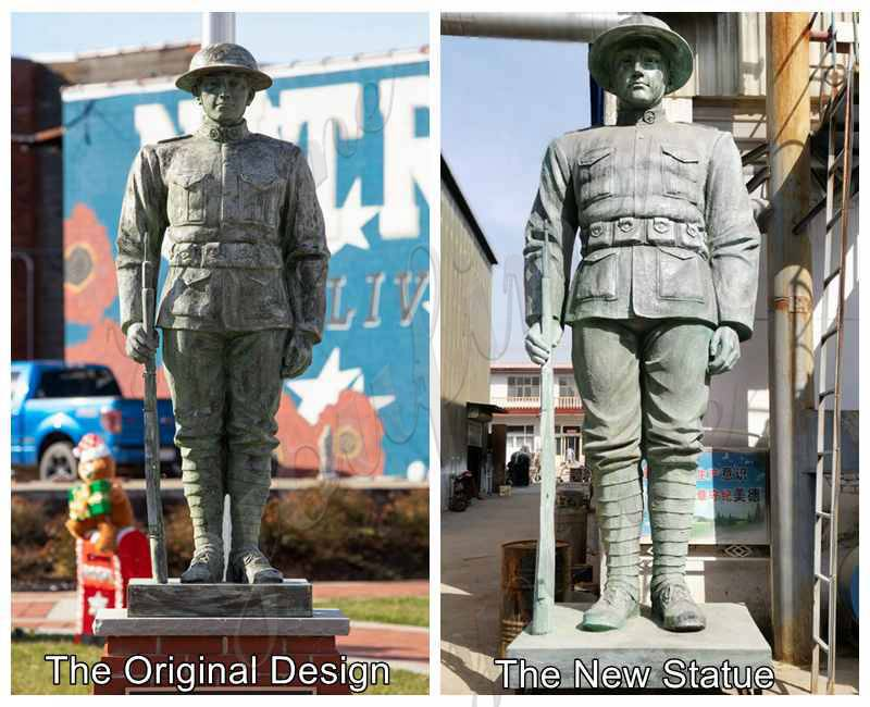 Custom Outdoor Large Bronze Soldier Statue for American Client