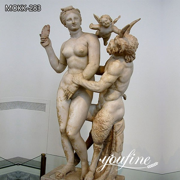 Famous Greek Art Marble Aphrodite Pan and Eros Statue for Sale