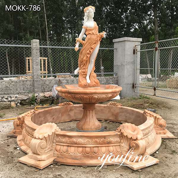 Garden Marble Outdoor Water Fountain Female Statues for Sale MOKK-786