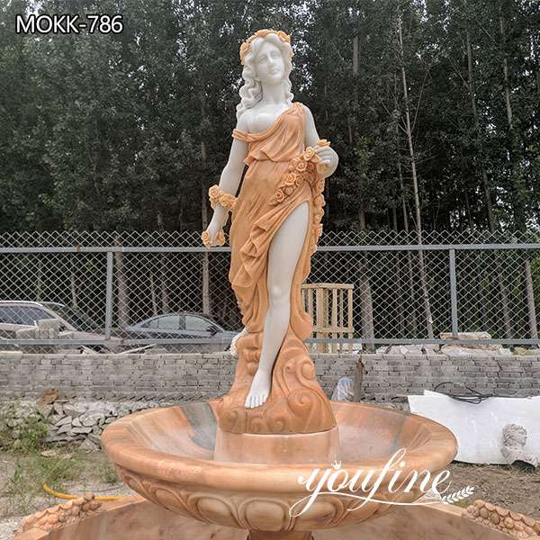 Garden Marble Outdoor Water Fountain Female Statues for Sale