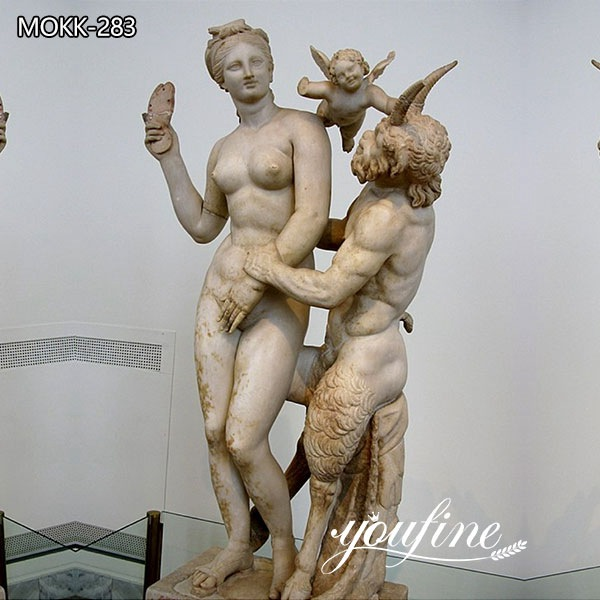 Greek Art Marble Aphrodite Pan and Eros Statue for Sale