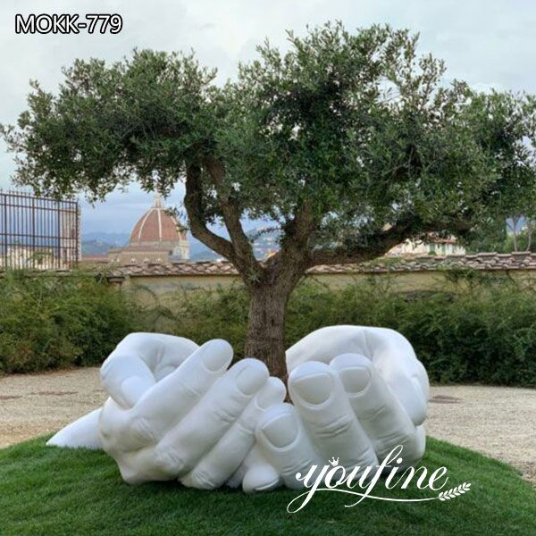 Large Hands Marble Sculpture for Garden Decor for Sale