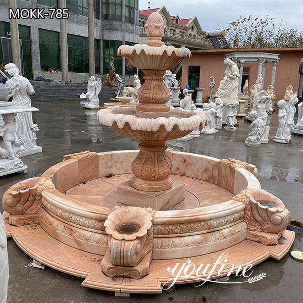 Large Hotel Decor Two Tiered Marble Water Fountain for Sale