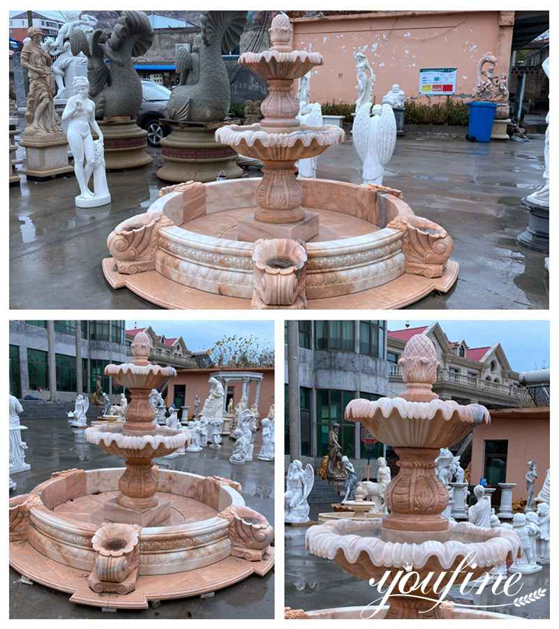 Large Hotel Decor Two Tiered Marble Water Fountain