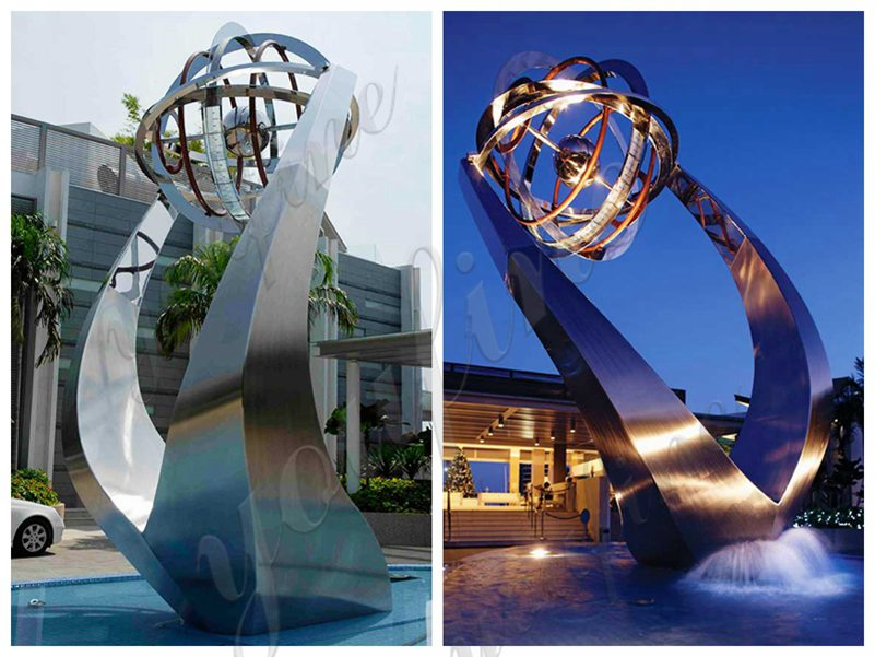 Large Stainless Steel Fountain Sculpture Outdoor Public Park Decor for Sale
