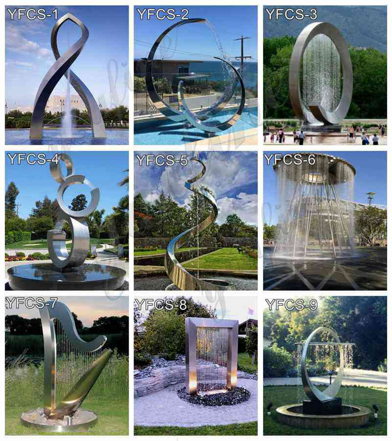 Large Stainless Steel Fountain Sculpture for Sale