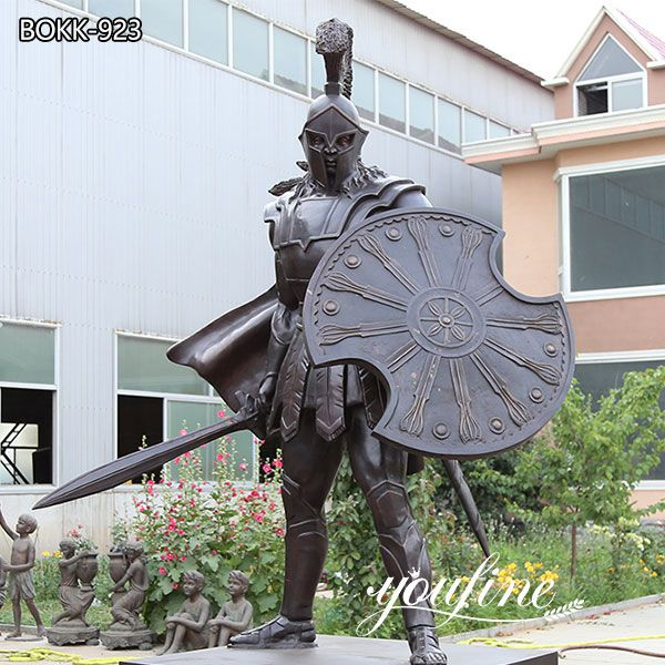 Life Size Bronze Spartan Warrior Outdoor Military Statues for sale