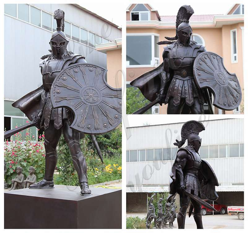 Life Size Bronze Spartan Warrior Statue Outdoor Military Statues for sale