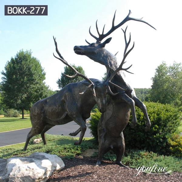 Life Size Fight Bronze Elk Statue Street Decor for Sale BOKK-277