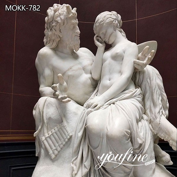 Life Size Pan Comforts Psyche Marble Statue for Sale