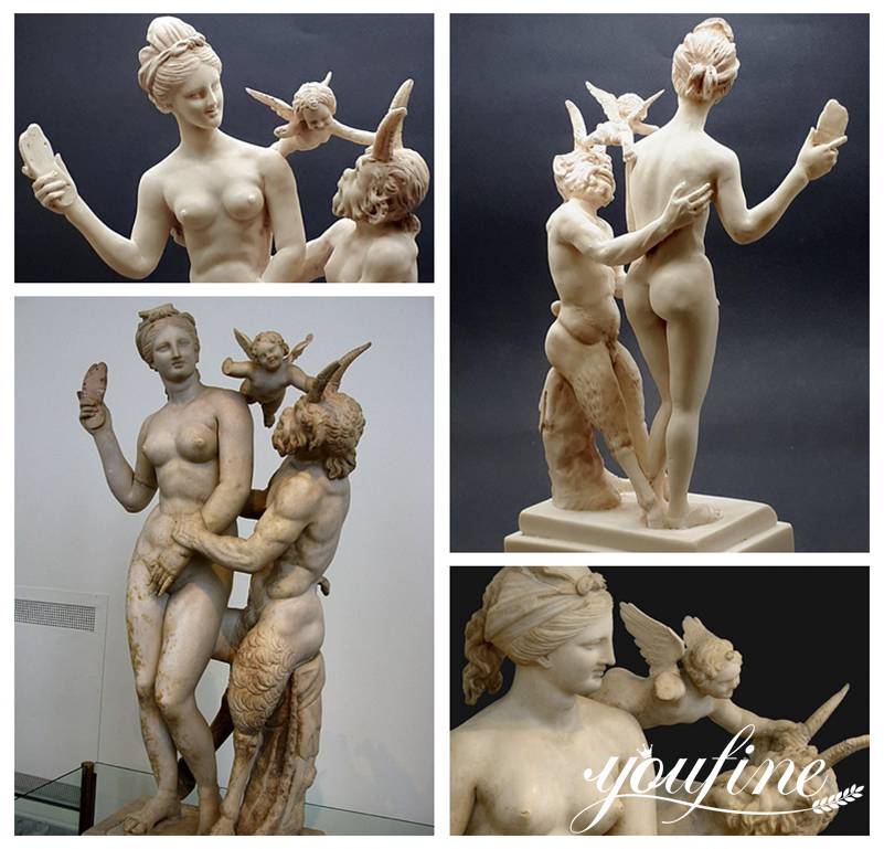 Marble Aphrodite Pan and Eros Statue for Sale