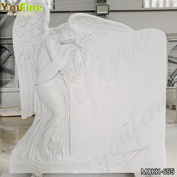 White Marble Angel Memorial Headstone China Supplier MOKK-655