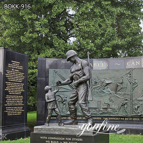 Military Bronze Statue Soldier and Child for Sale
