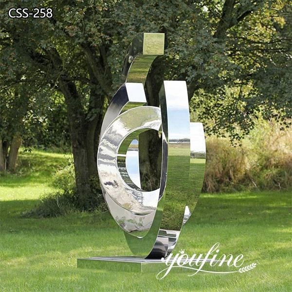 Mirror Stainless Steel Ring Sculpture Urban Landscape Decor for Sale