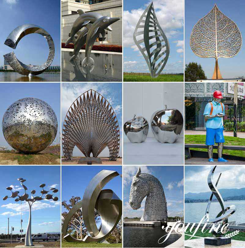 Mirror Stainless Steel Ring Sculpture for Sale