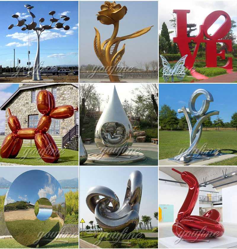 Modern Metal Fountain Sculpture Hotel Garden