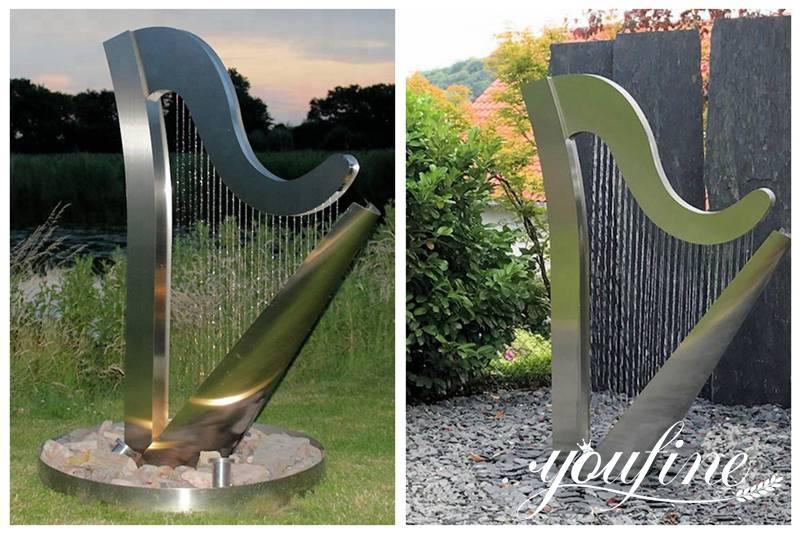 Modern Outdoor Metal Water Fountain Harp Sculpture