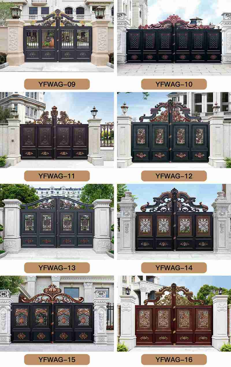 Ornamental Customized Automated Driveway Aluminum Gate for Sale More Designs