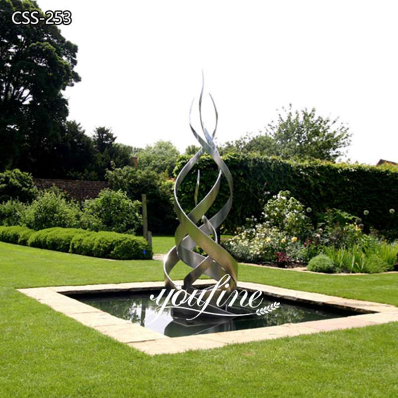 Outdoor Abstract Stainless Steel Water Feature Sculpture for Sale CSS-253