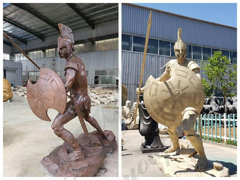 Outdoor Bronze Spartan Soldier Statue