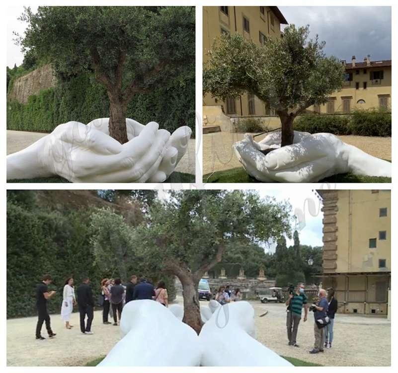 Outdoor Hands Marble Sculpture for Garden Decor for Sale